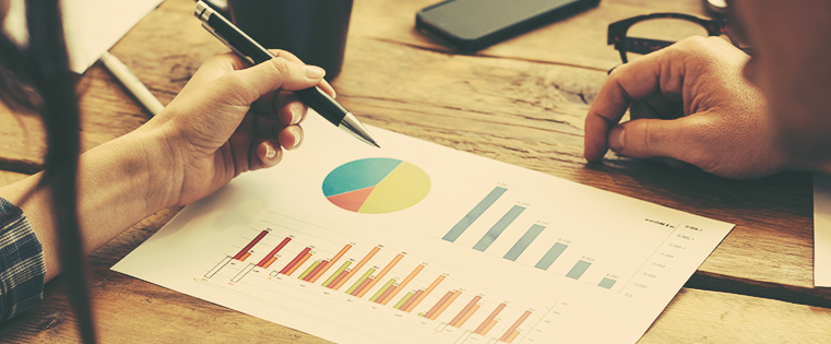 stock image with graphs and pie chart