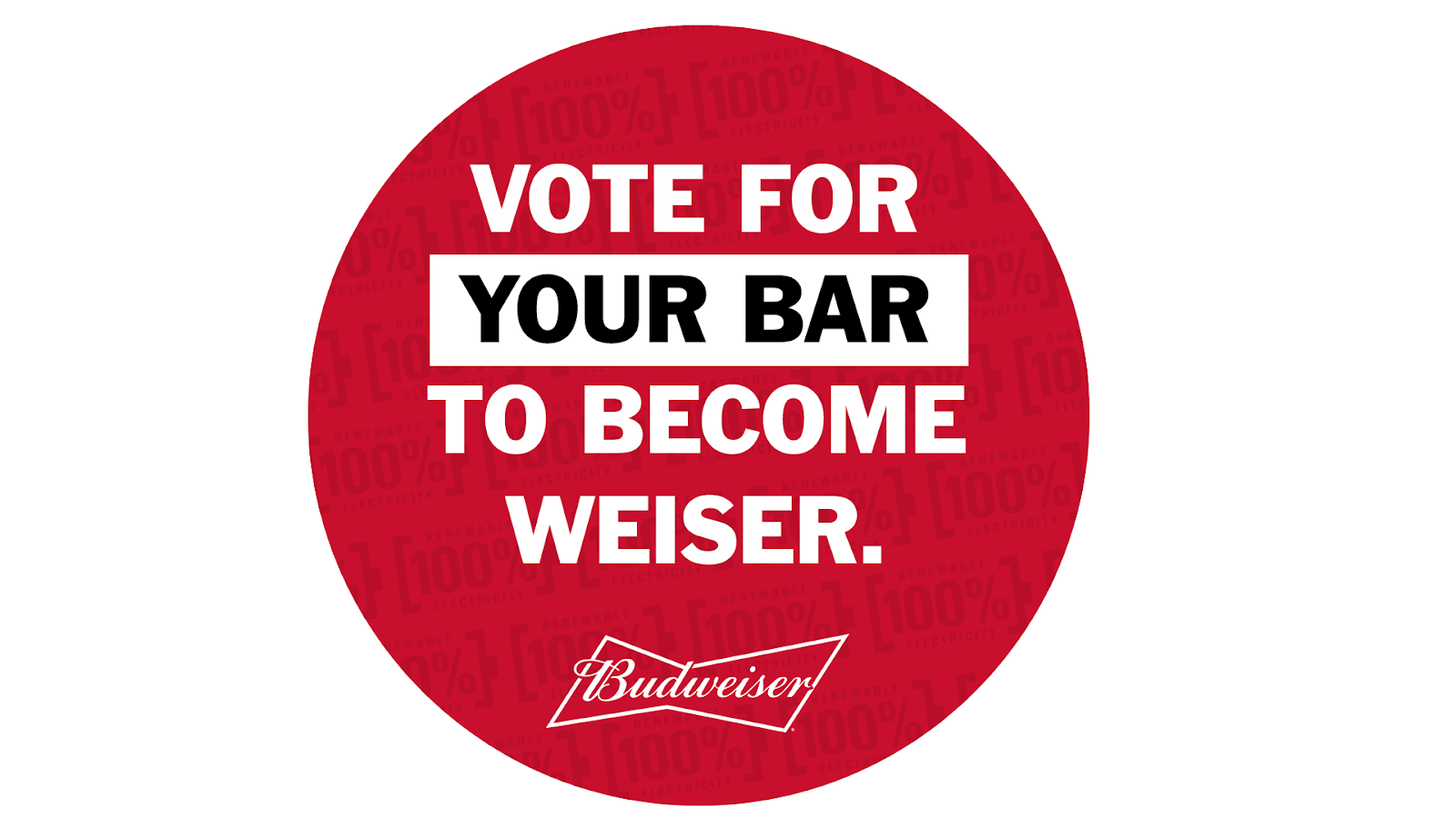 Signage encouraging people to vote for their bar to become weiser, as part of Budweiser's Clio Winning Belgian case campaign