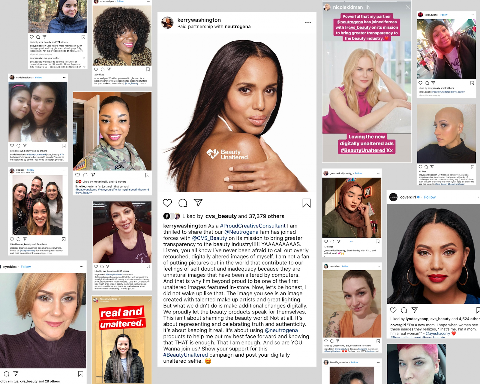 Screenshots of social posts from the Clio Winning Beauty Unaltered Campaign