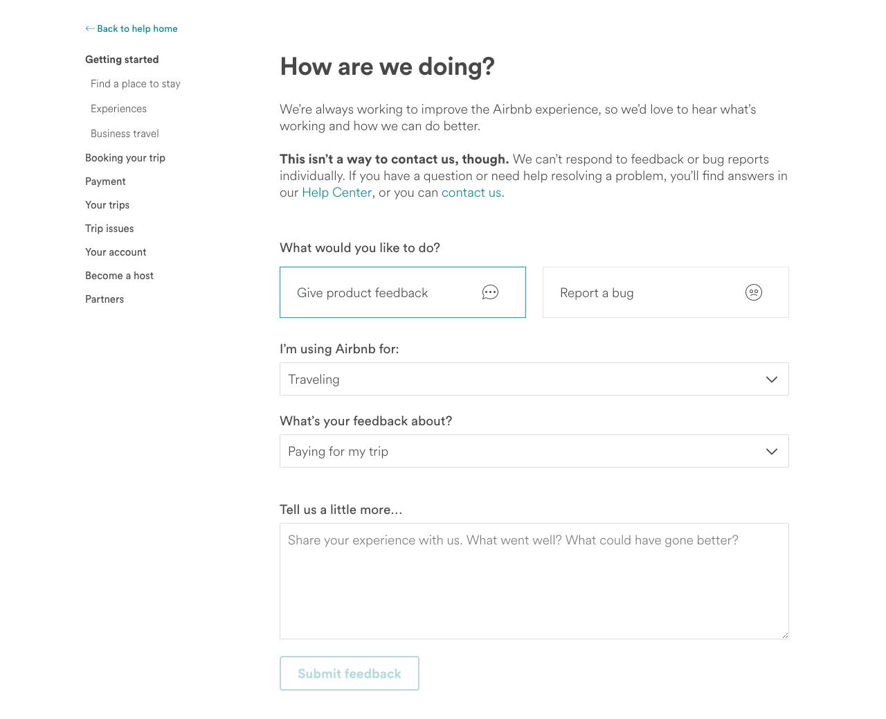 Airbnb-feedback