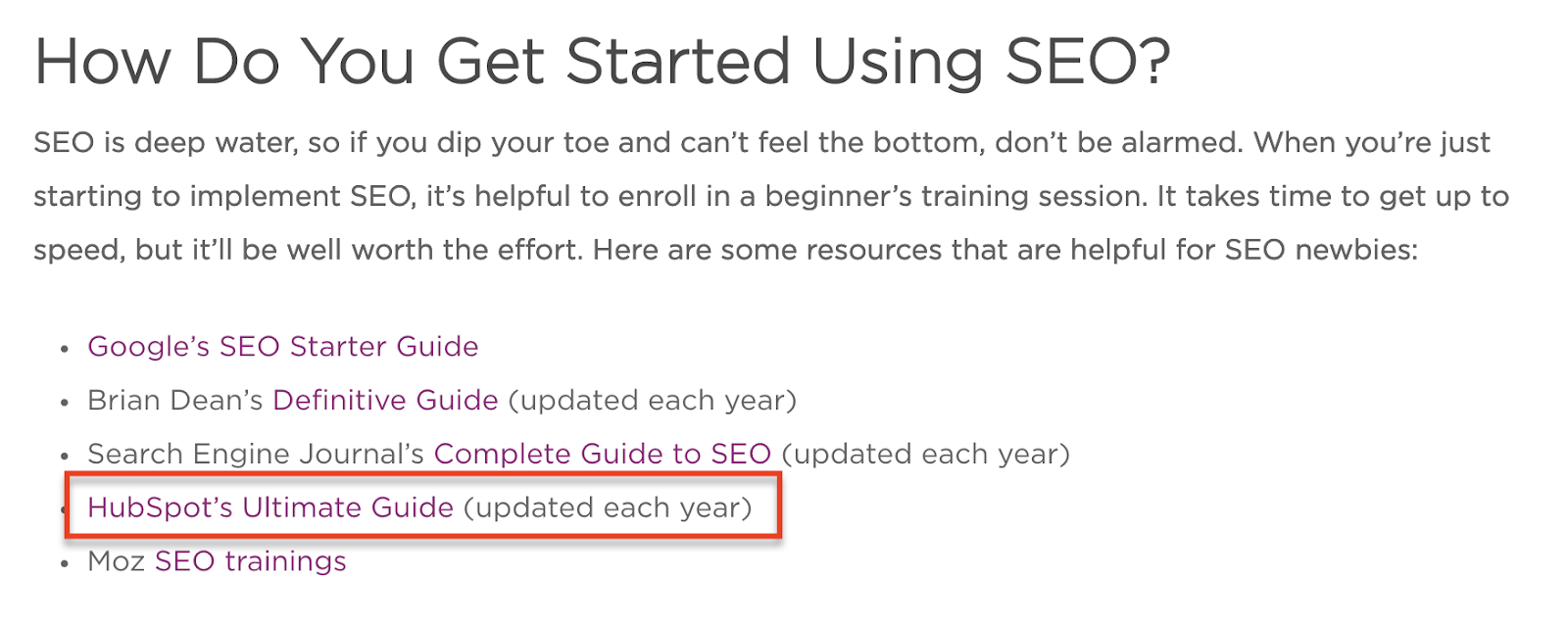 "Article on ""how to get started using seo"" featuring hubspot's ultimate guide to se"