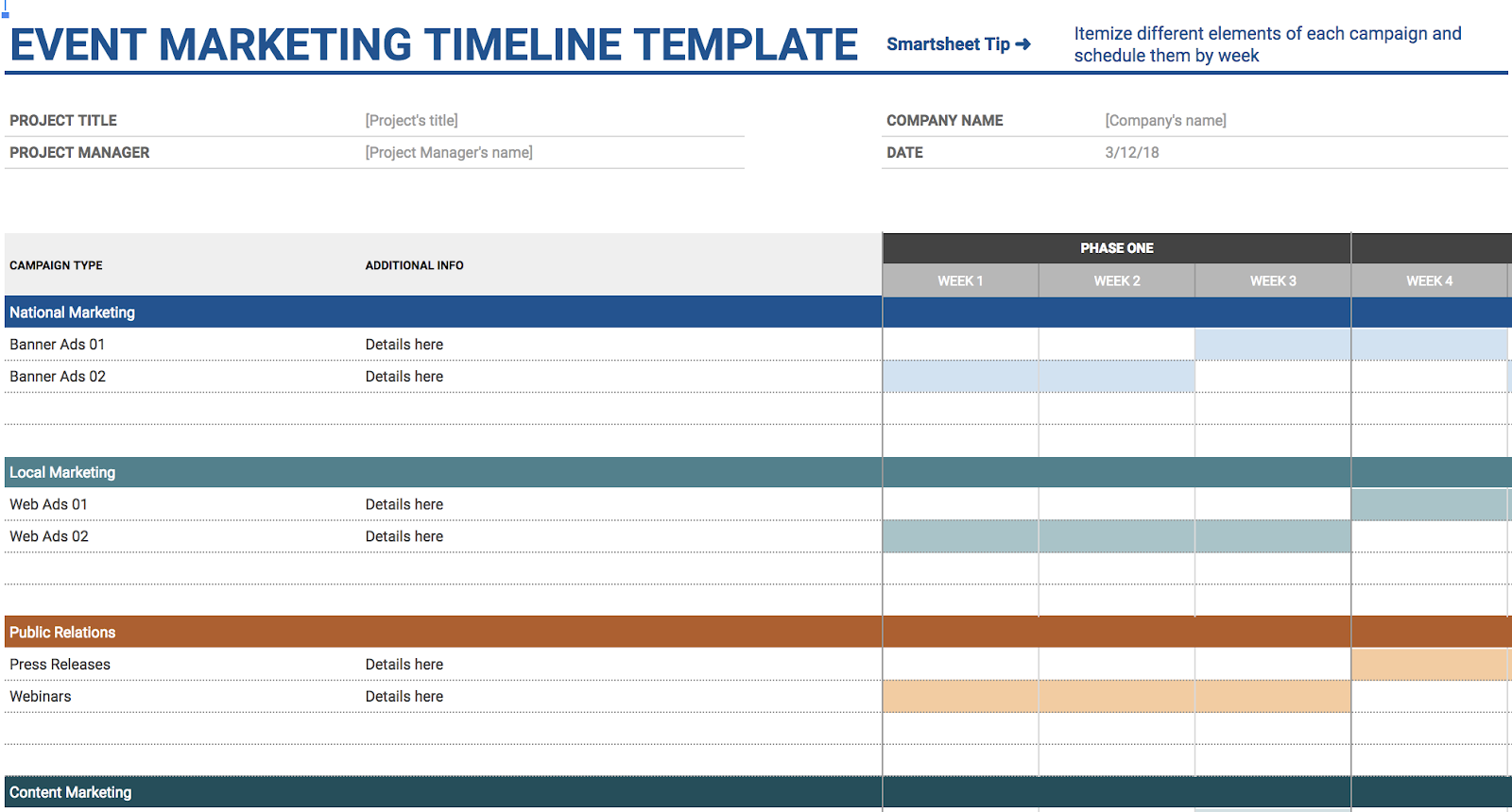Timeline Spreadsheet Template from blog.hubspot.com