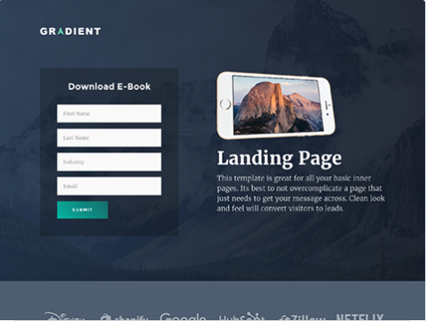 Gradient Landing Page Template from Hubspot