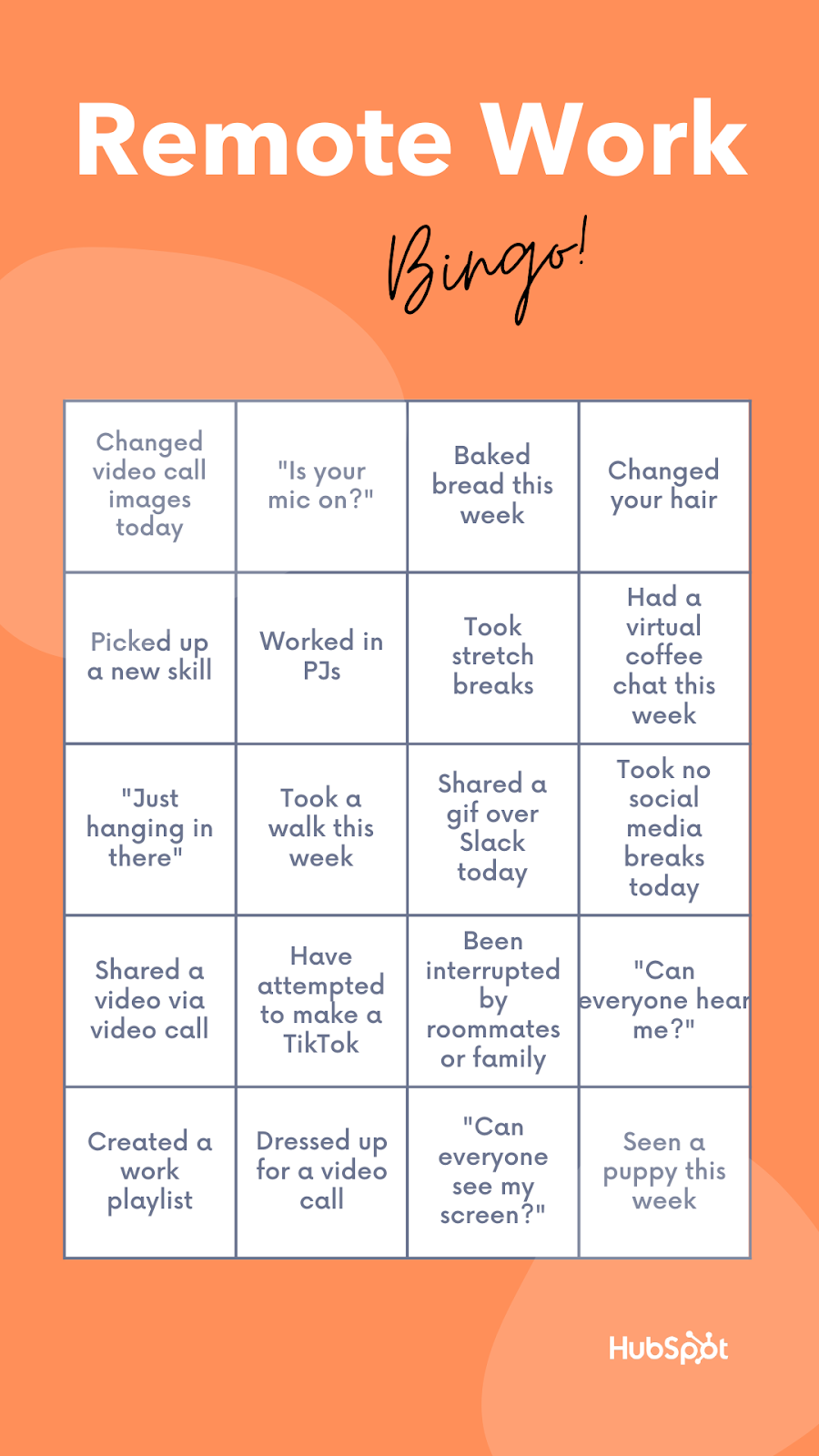 Remote Bingo template from HubSpot