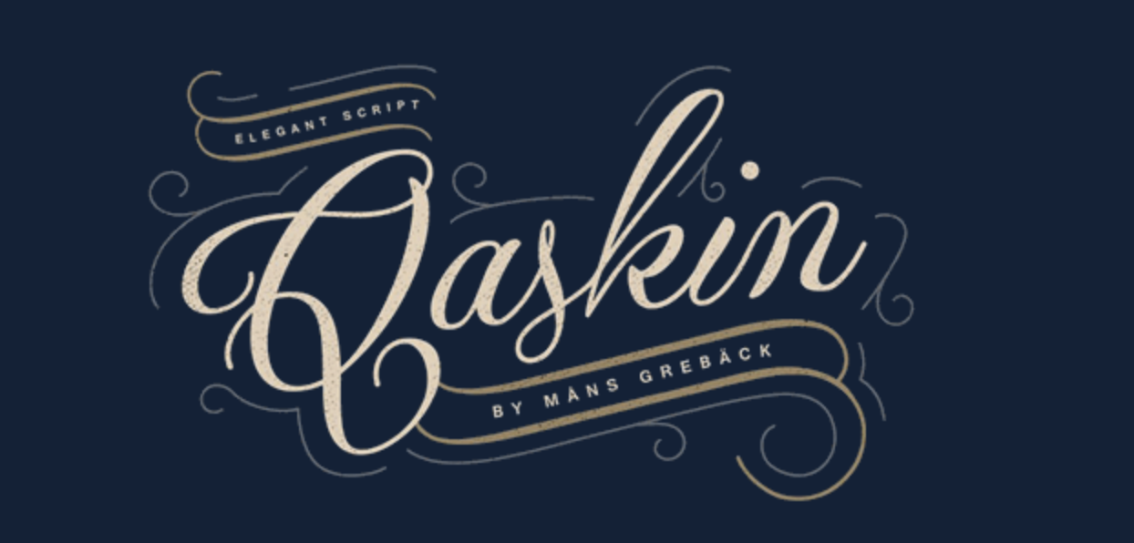 Rugged, outdoorsy calligraphy font called Qaskin Black Personal Use