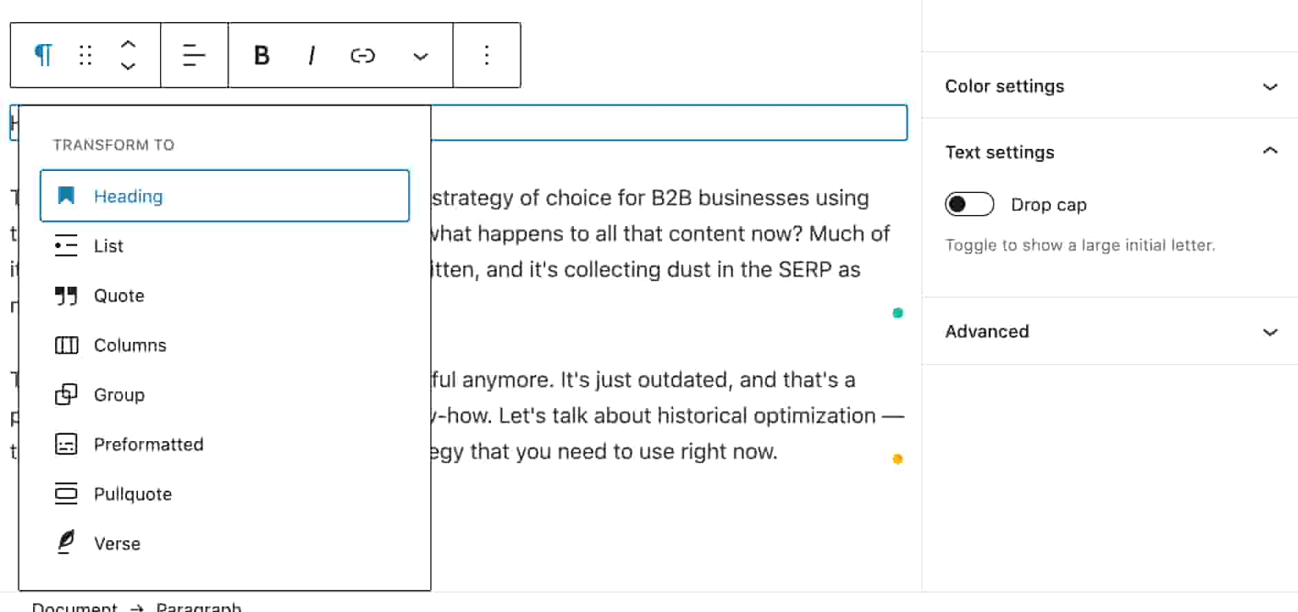 Change the heading in a WordPress blog with the menu box and heading button