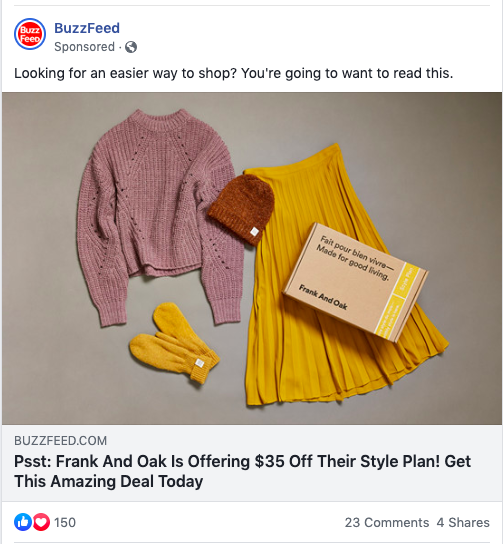 BuzzFeed ad on Facebook
