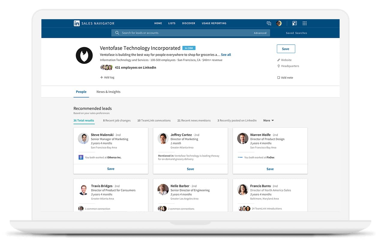 LinkedIn Sales Navigator dashboard