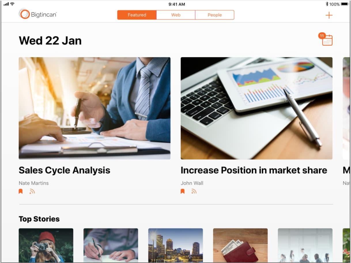 Bigtincan sales enablement automation dashboard