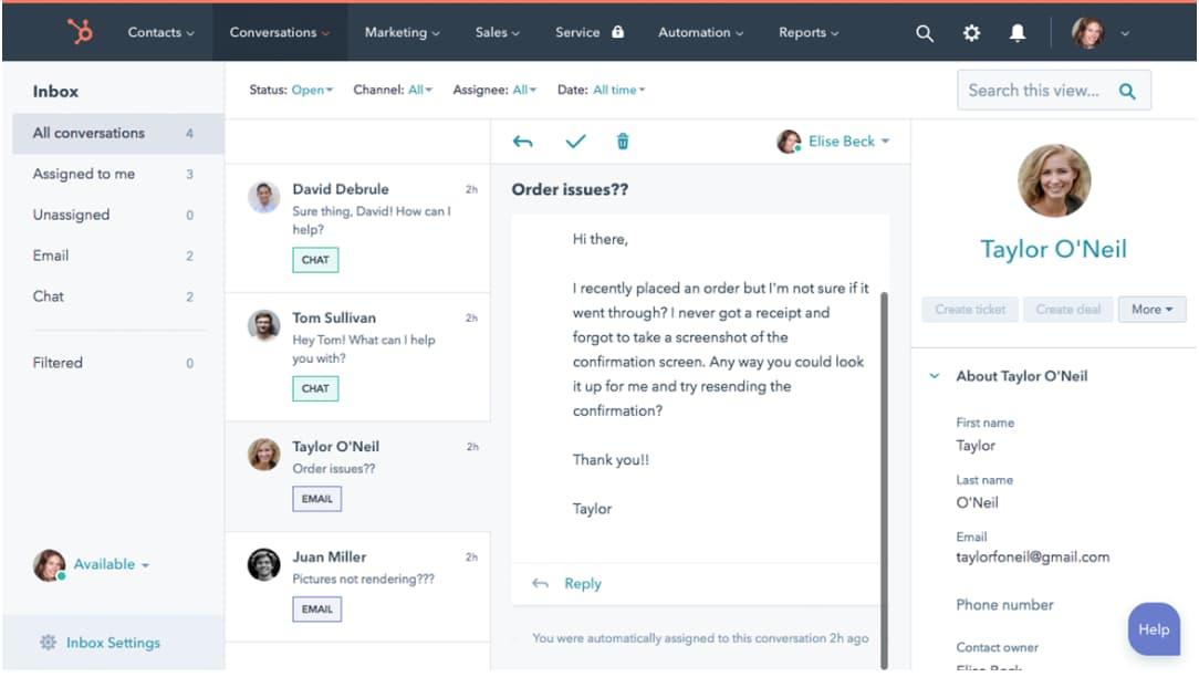 HubSpot CRM contact conversation