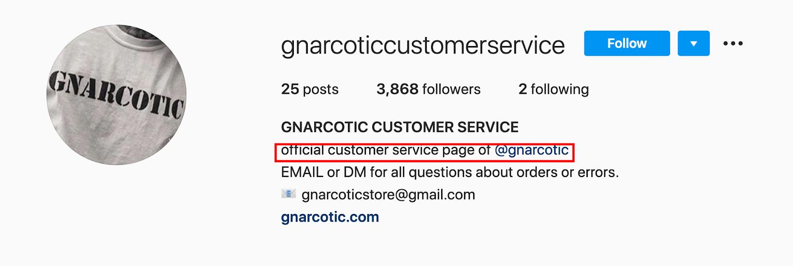 Gnarcotic-instagram-customer-service