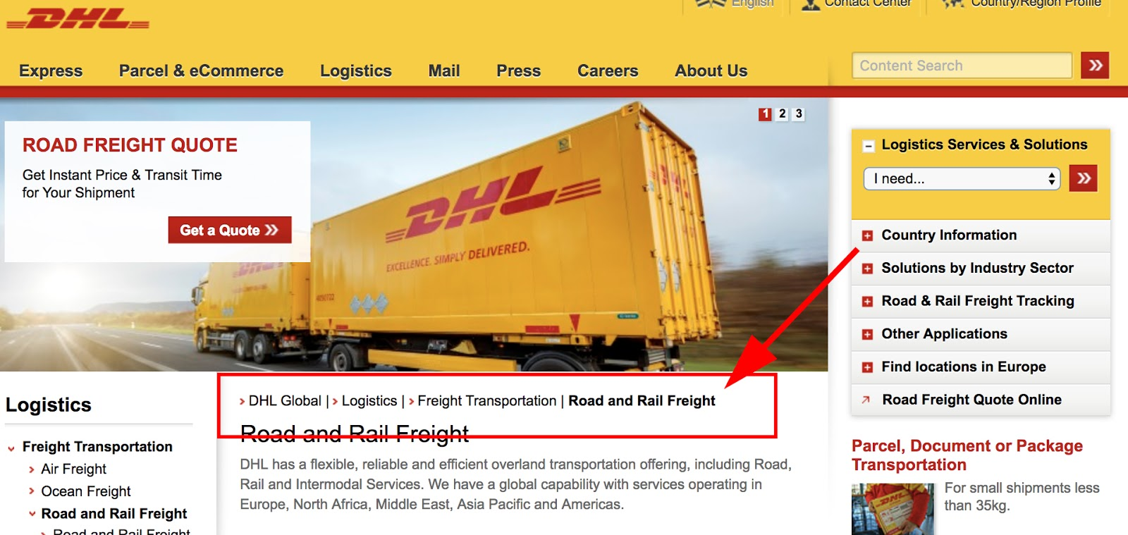 an example of breadcrumb navigation on the DHL website