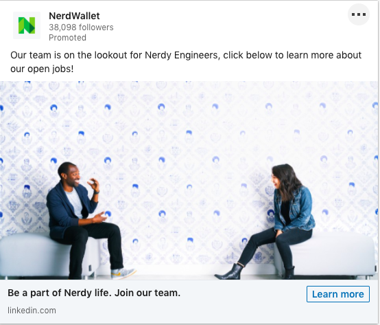Example of NerdWallet's LinkedIn Dynamic Ad