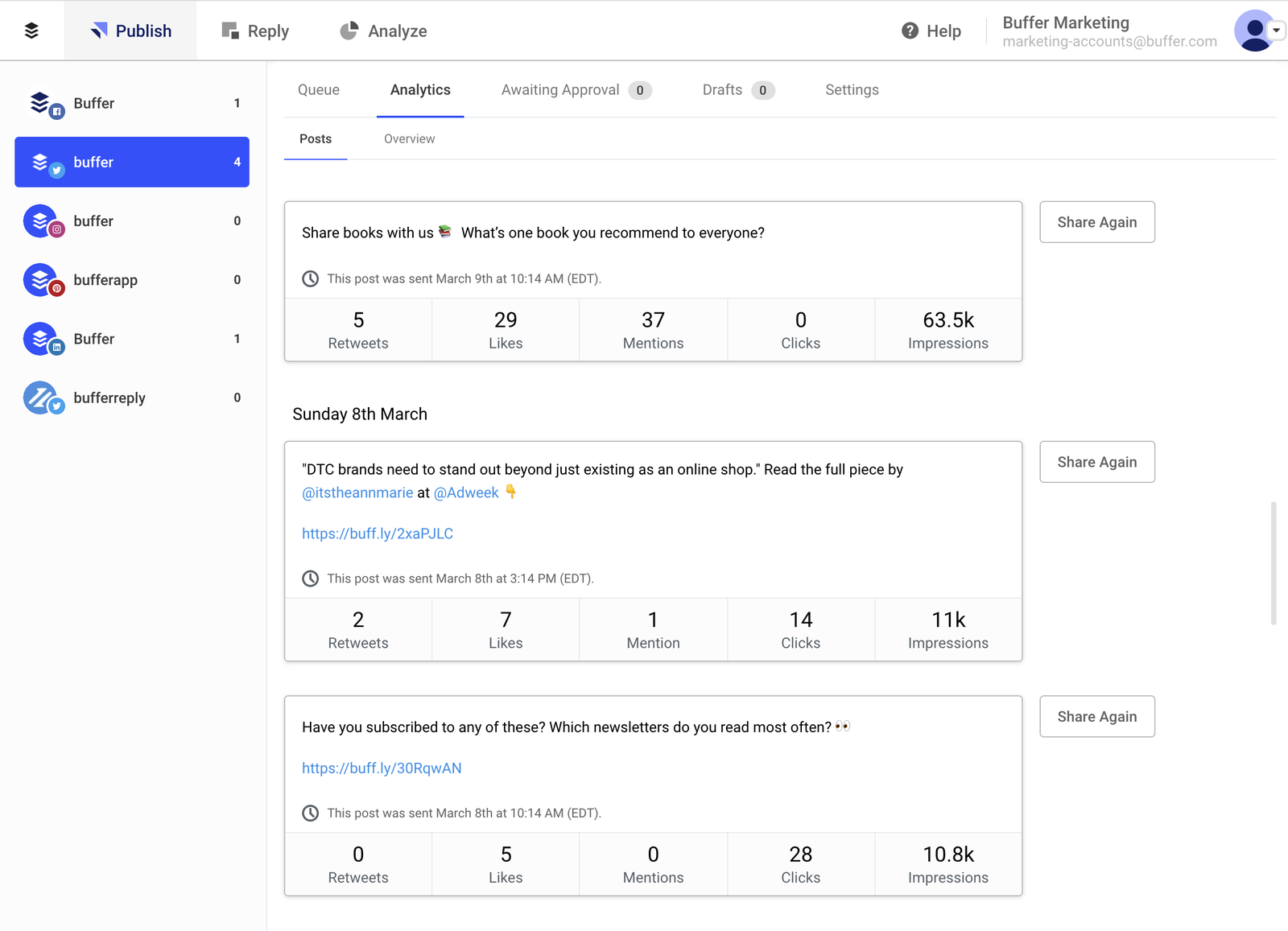 Buffer social media dashboard - post analytics and replies
