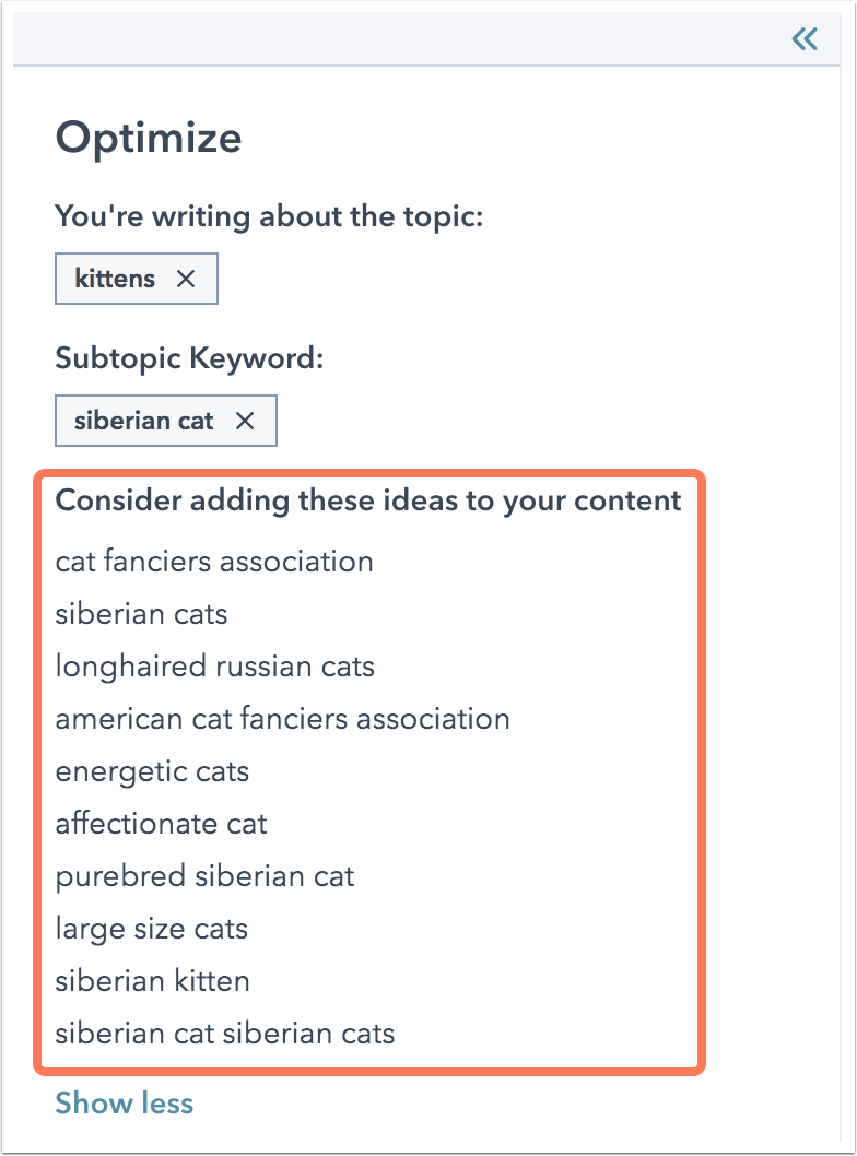 """Screenshot of keyword suggestions provided by HubSpot for the topic """"kittens"""" and subtopic """"Siberian cat."""""""