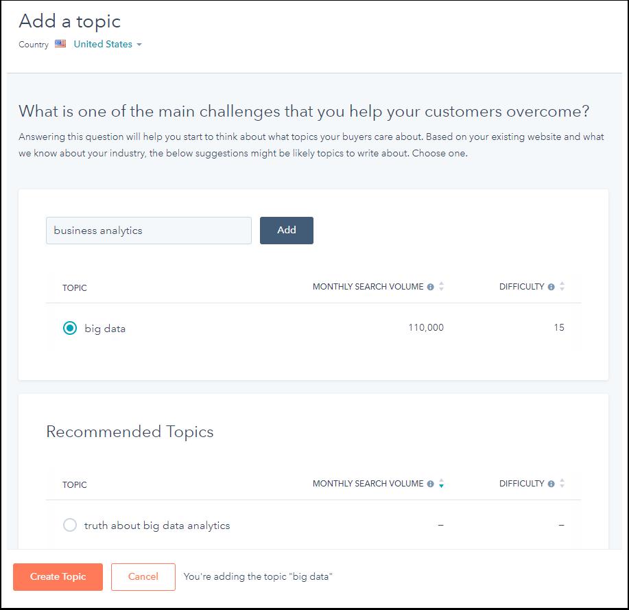 "Screenshot of the ""Add a topic"" window in HubSpot"