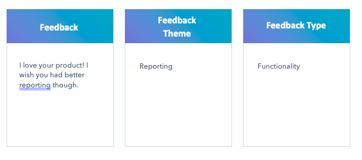 A three-column table showing customer feedback, the feedback theme, and feedback type.