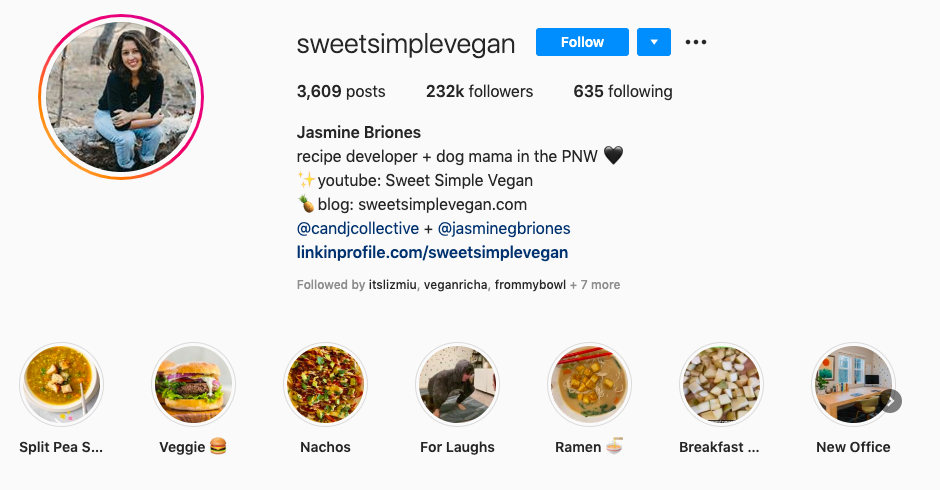 Sweet Simple Vegan Instagam page.