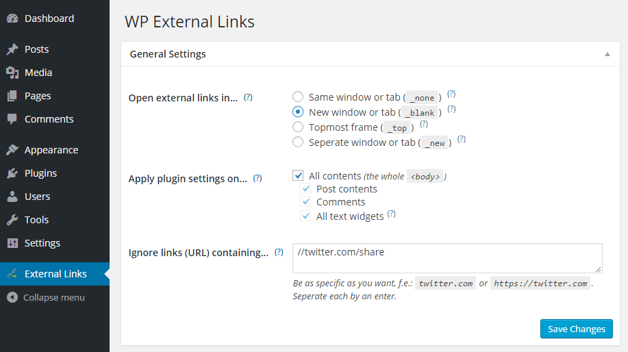 In the External Links in New Window / New Tab plugin setting, you can turn the auto-setting on and off for specific links