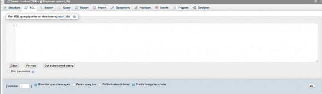 To write a MySQL query, click on the SQL tab in the top menu bar of the phpMyAdmin page
