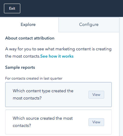 Screenshot of Explore tab showing options for viewing how different marketing efforts generate contacts