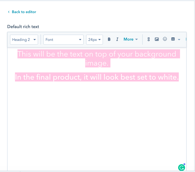 example of rich text for email background