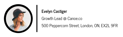 firma de correo electrónico para Evelyn Castiger con un separador de espacio entre la foto a la izquierda y el texto a la derecha