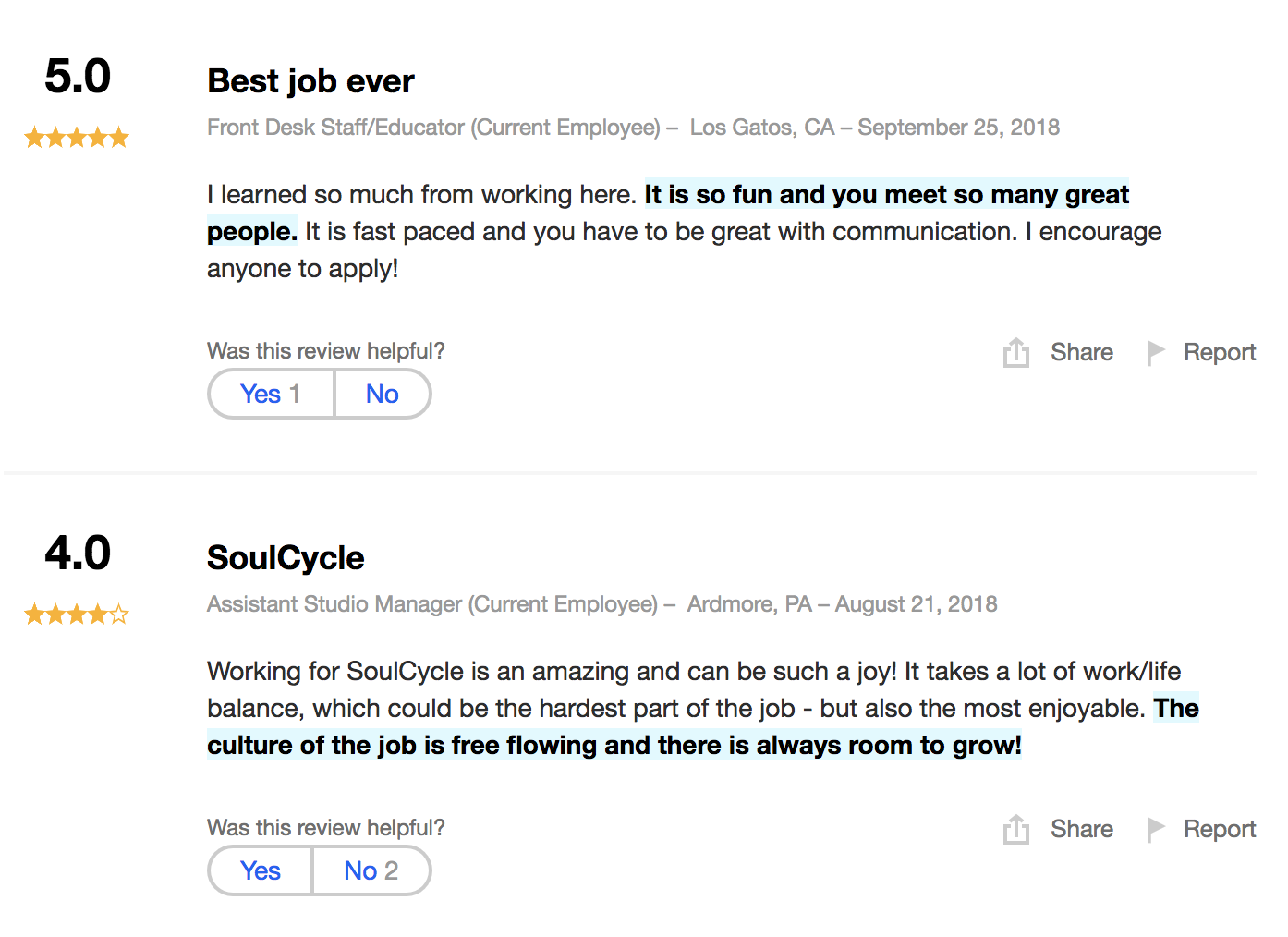 SoulCycle testimonials showing happy employees who enjoy the brand