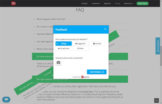 mopinion poll plugin pop-up window asking for user feedback