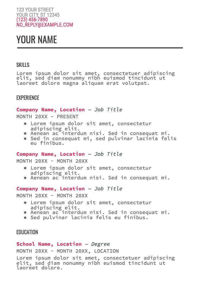 google doc resume templates
