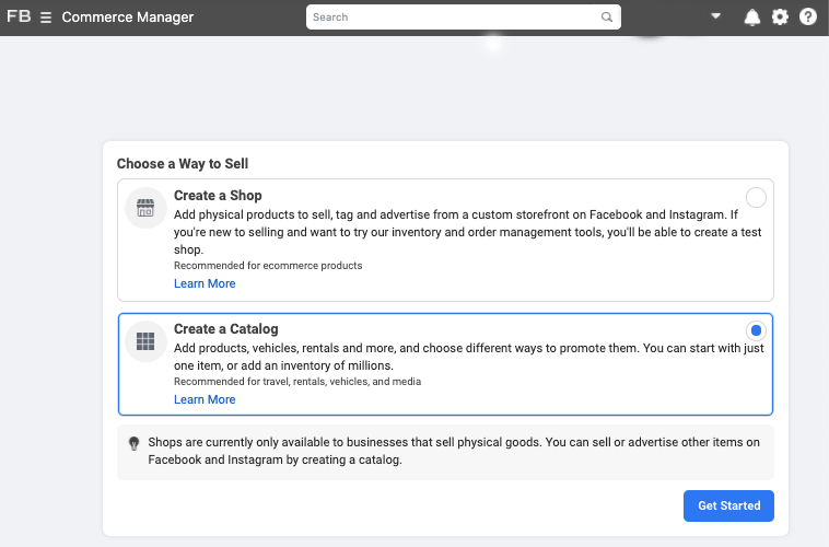 Steps to create a catalog on Commerce Manager