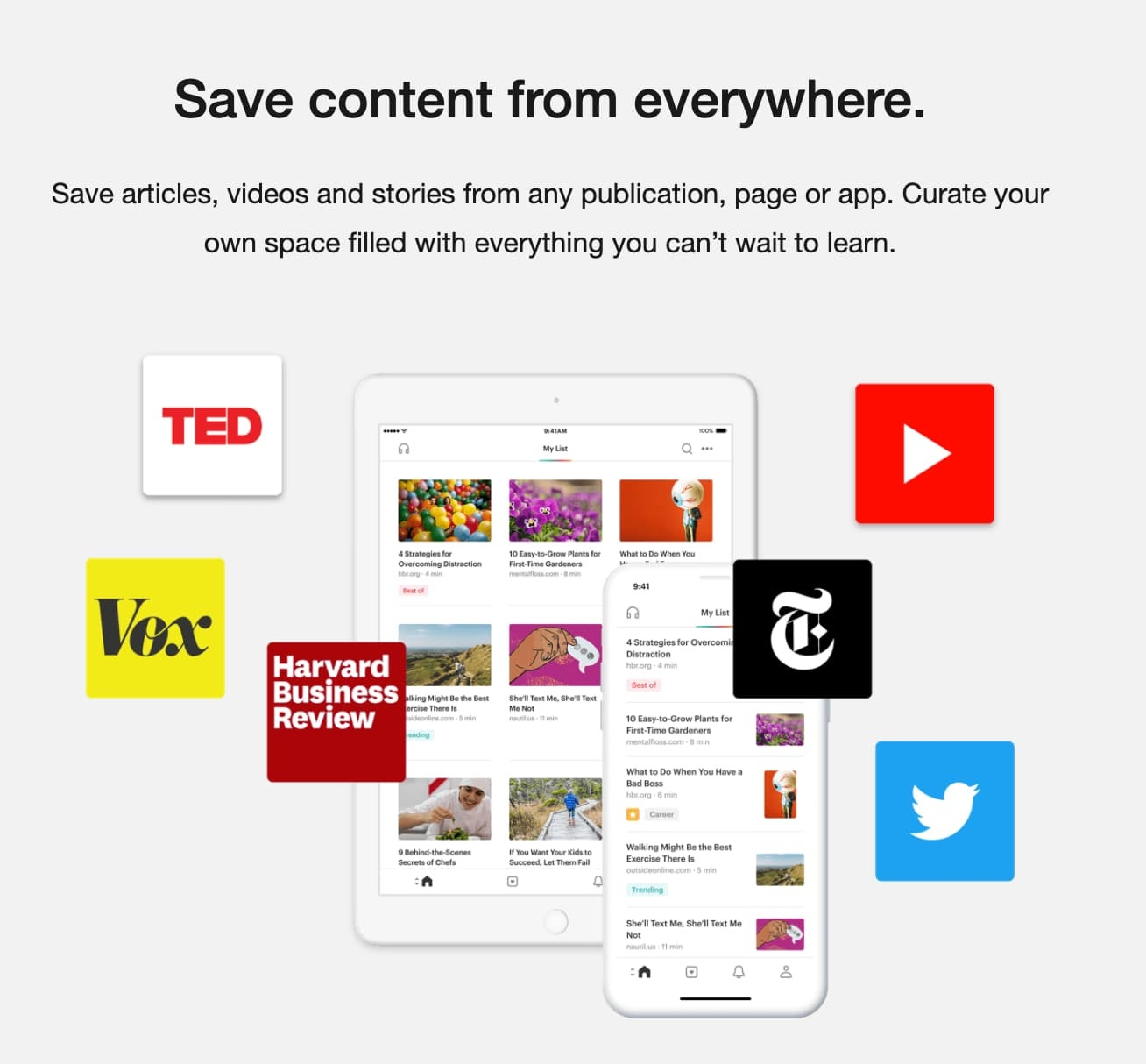 Content curation tool Pocket