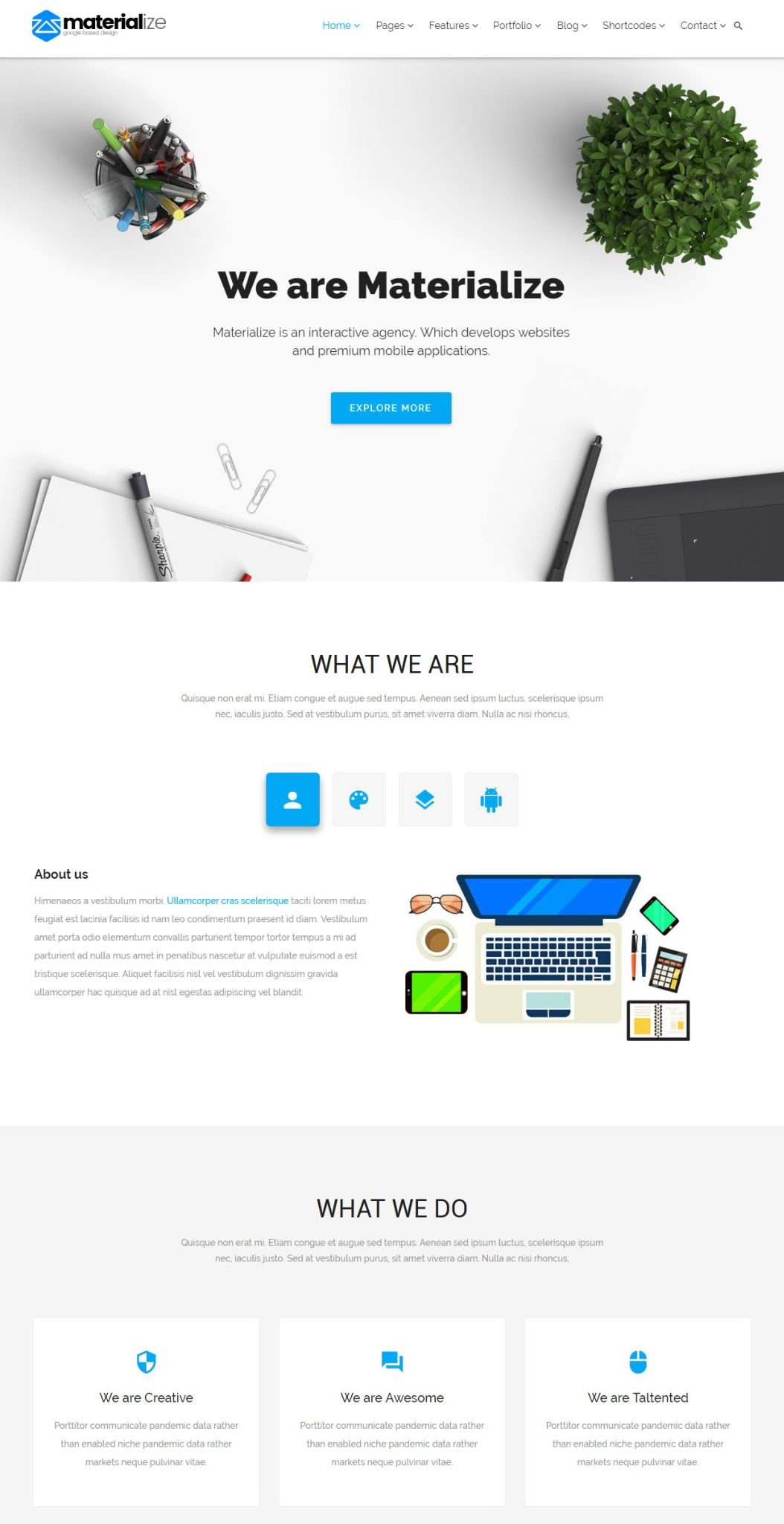 best material design wordpress theme: materialize