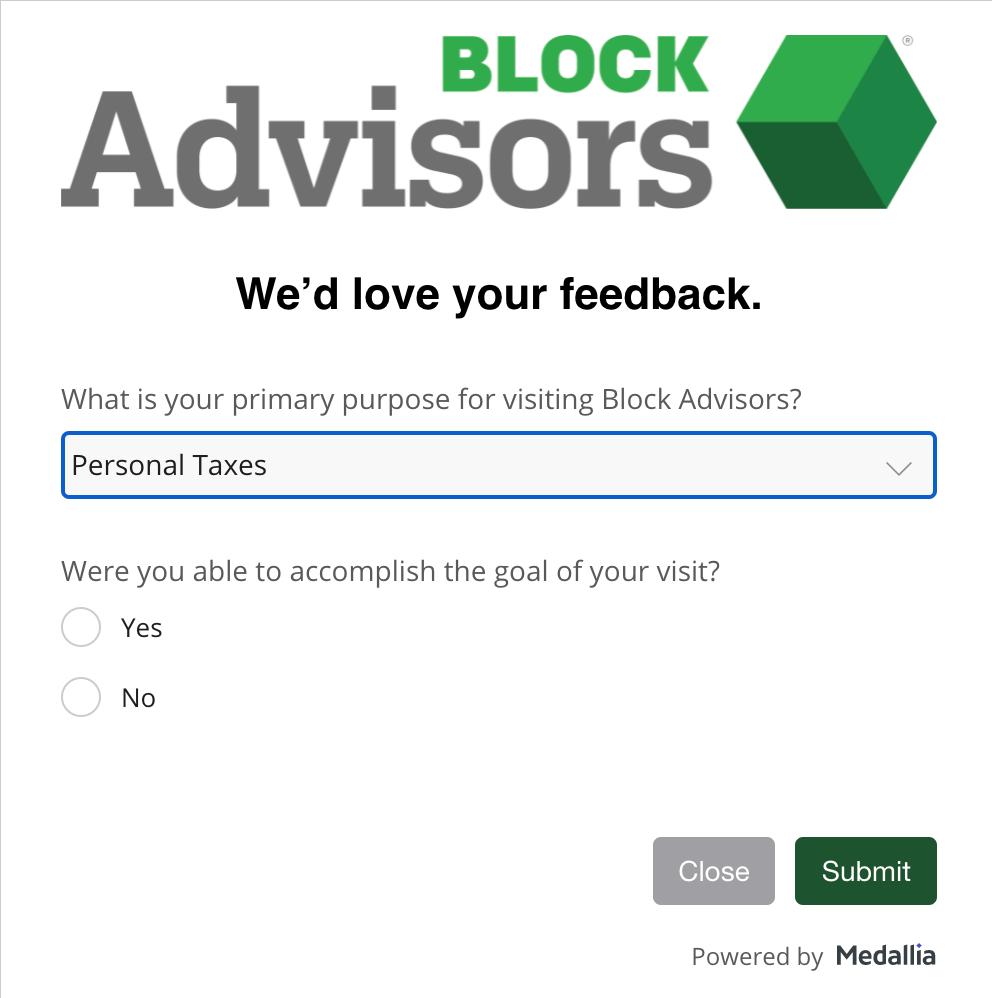 customer satisfaction survey example: HR Block