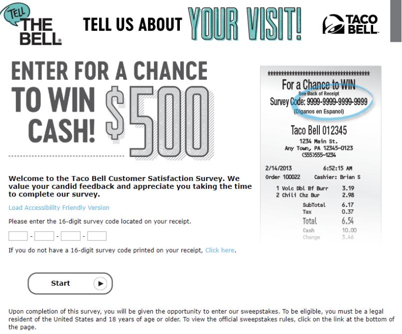 customer satisfaction survey example: taco bell
