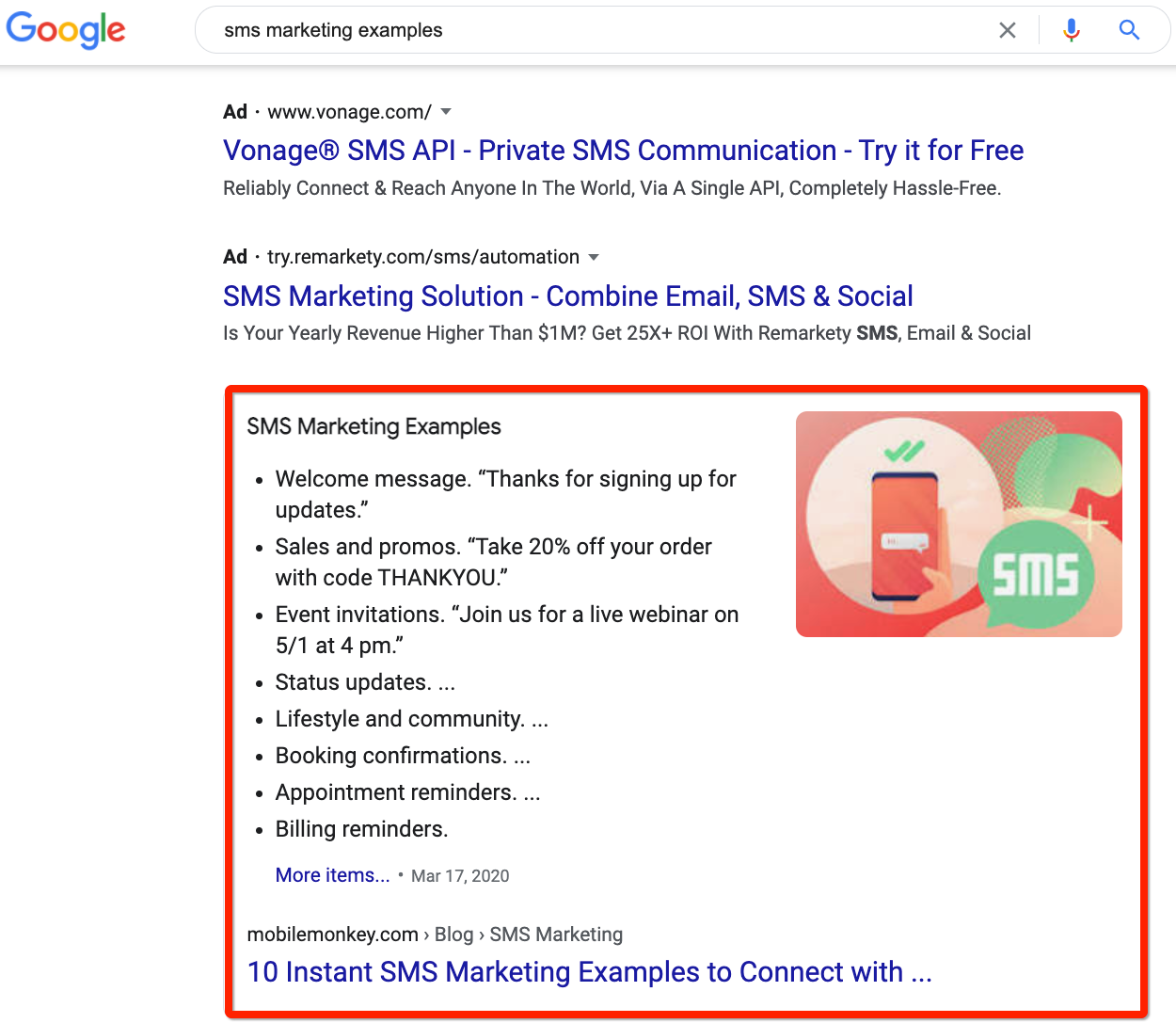 Snippet search result for SMS marketing examples
