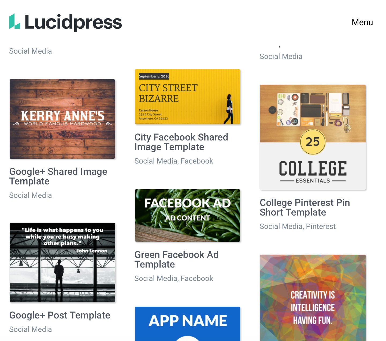 Lucidpress homepage