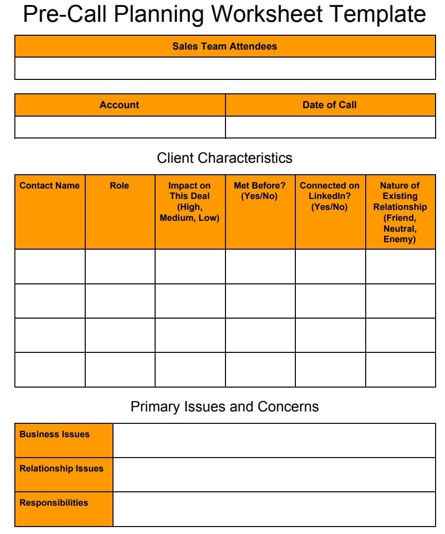 Pre-Call Planning Worksheet Template 1