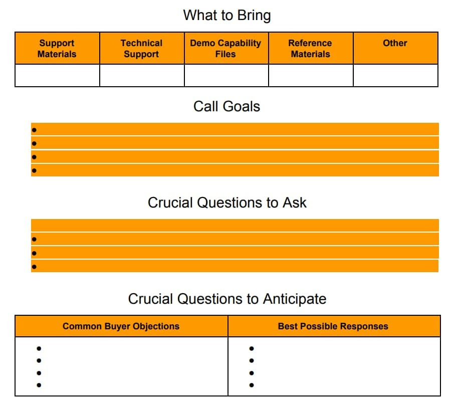 Pre-Call Planning Worksheet Template 2