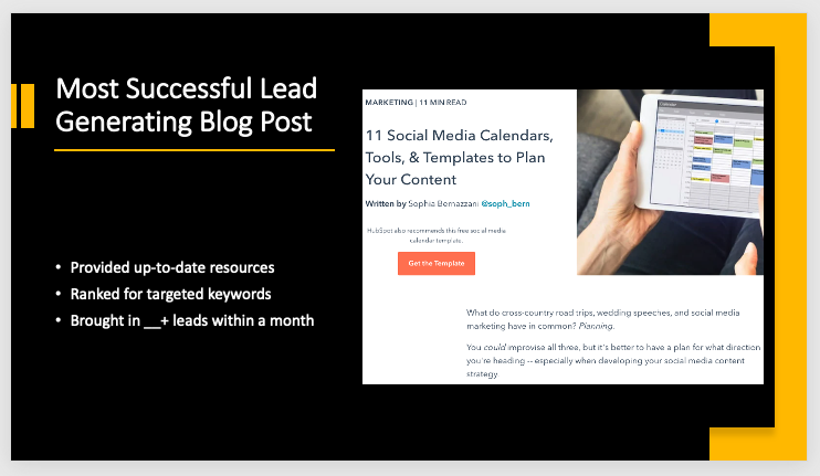 PowerPoint featuring conclusions drawn from free monthly marketing reporting templates