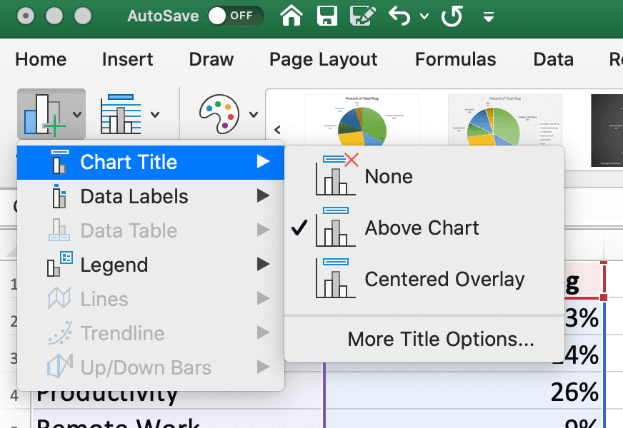 The chart title tool in Excel for editing the placement of your title for your pie chart.