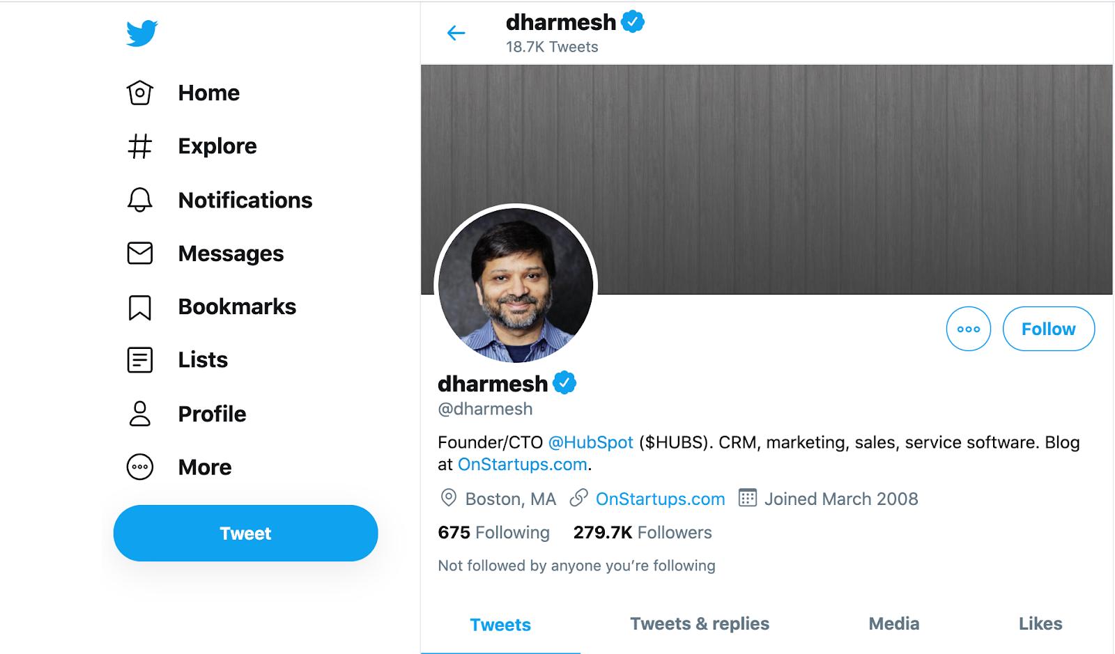 dharmesh twitter bio