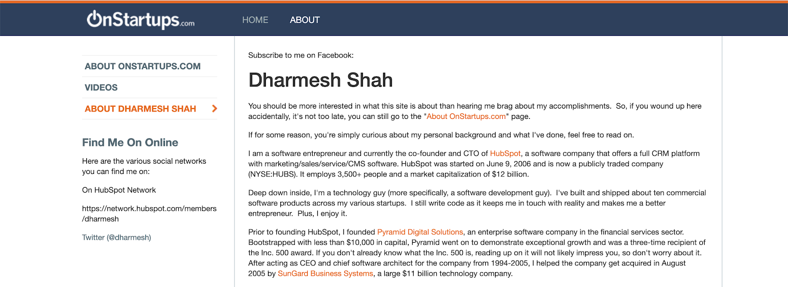 dharmesh's onstartups bio