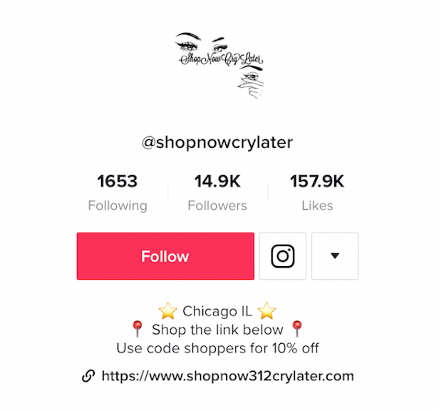 @shopnowcrylater's tiktok bio with link to ecommerce website