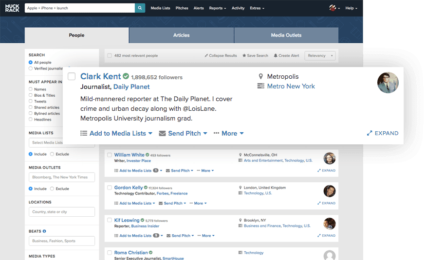 finding contact info for journalists on Muckrack dashboard
