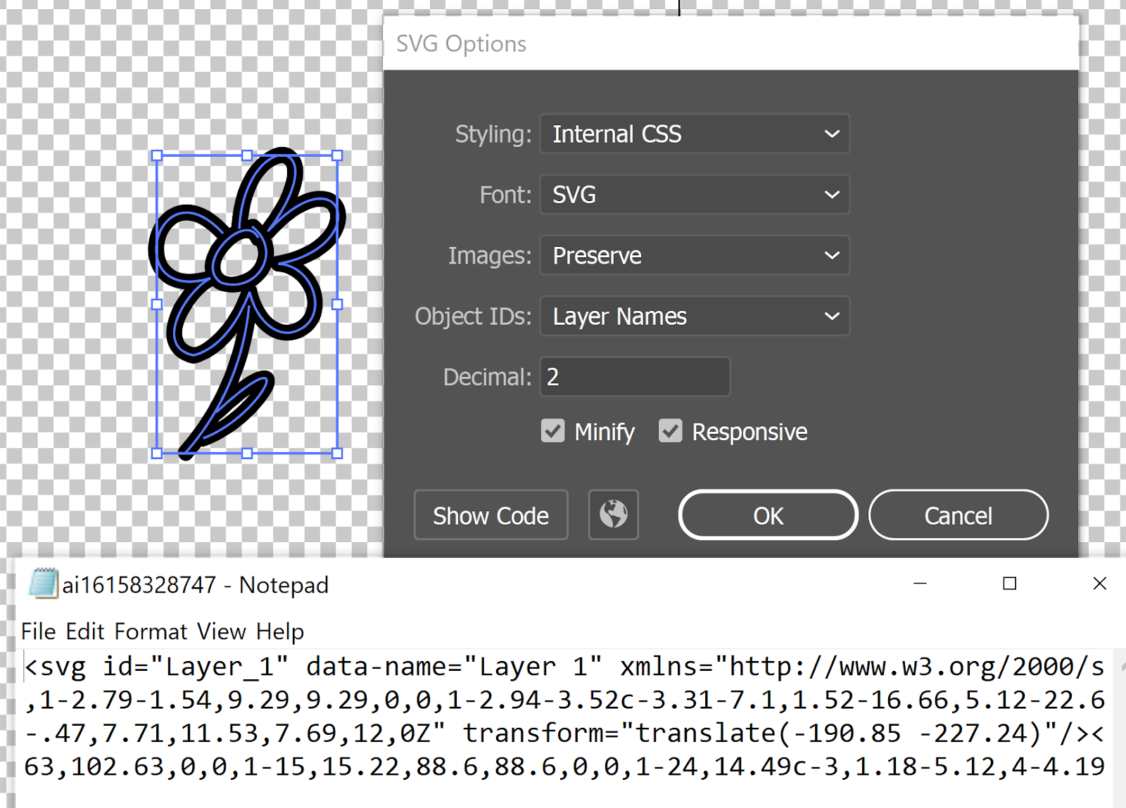 black flower design outlined with SVG XML code