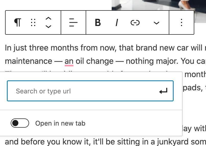 Add a URL for the hyperlink in WordPress