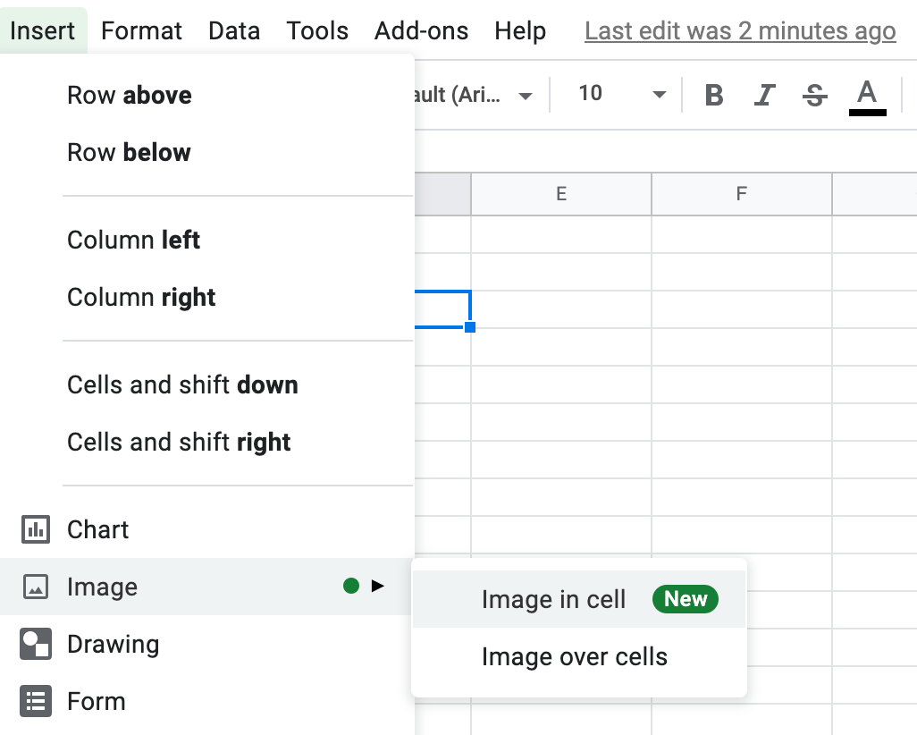 How to add an image to an excel cell, step 2 click image and image in cell