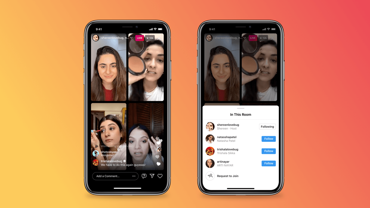Instagram Live rooms screen and add people option