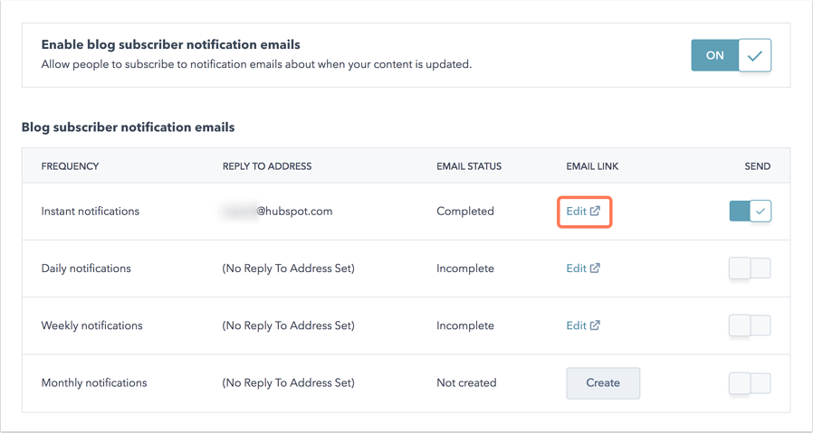 Screenshot of setting up blog subscription emails in CMS Hub.